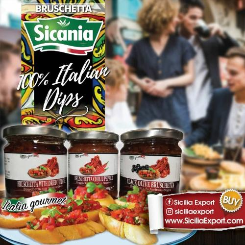 Bruschetta Tomate Seco Aceituna Negras y Peperoncino SICANIA