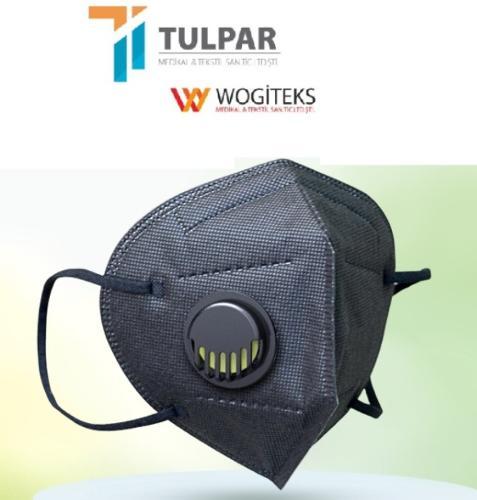 Máscara facial de proteção respiratória FFP2 preta com válvu