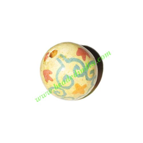 Wooden Painted Beads, Fancy Design Hand-painted beads, size