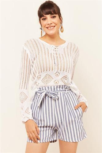 Women's Blue Stripe Shorts