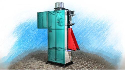 Vážicí stroj s rotačním podavačem pro ventilové vaky