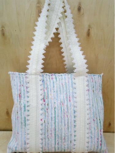 Handwoven rag shopper  bag.