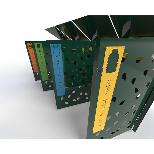 Abri Cache Poubelle Quadruple Feuille Recyclage