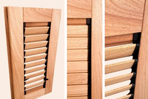 Persiennes en bois à lames articulées