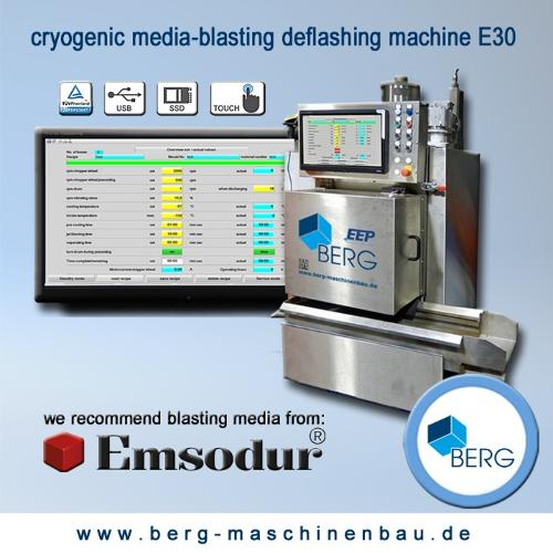 Cryogenic media-blasting deflashing machine