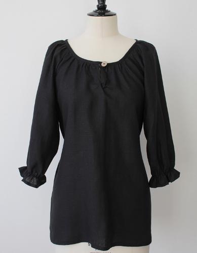 Linen Blouse in Black - Eco Linen Clothing