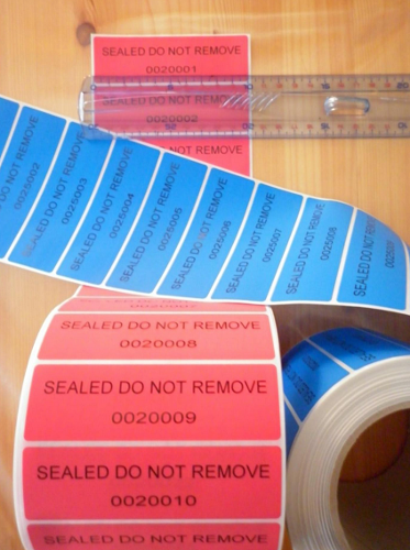Security stickers, labels or tape