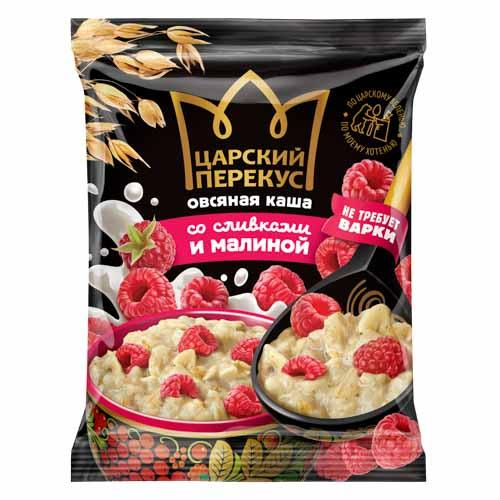 "Instant oatmeal porridge with cream ""With raspberries"""