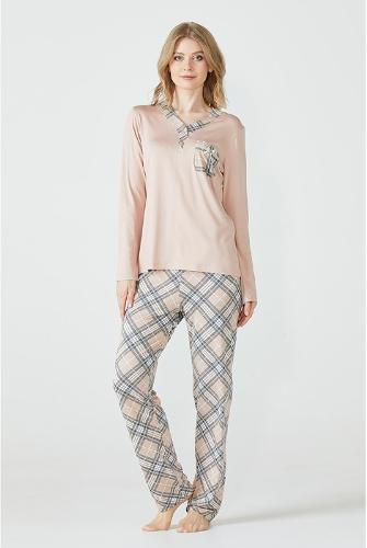 Women's Pocket Detailed Patterned Pyjamas Set