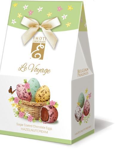 EMOTI Chocolate Eggs Sugar Coated with hazelnut filling, 75g