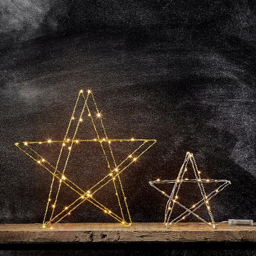 Étoile LED Super 25 cm chromée à piles