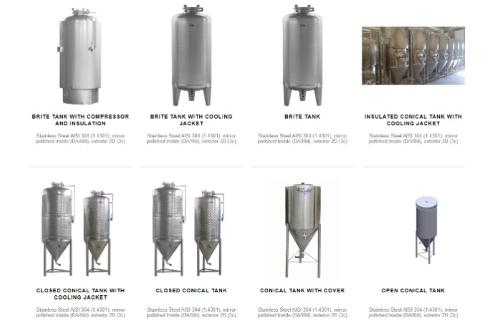 Beer tanks and other products