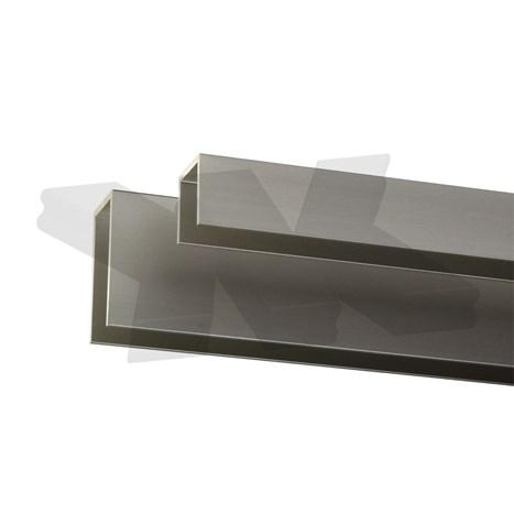 Glass edge protection profile 20x22x20x2mm, stainless steel effect