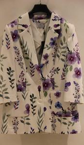 Çiçek Baskılı Cepli Ceket