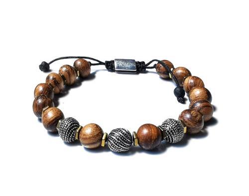 Sandalwood Sterling Silver Men's Macrame Diffuser Bracelet