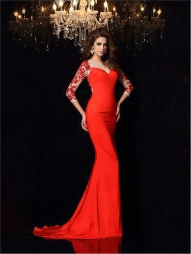 Fish Model Long Sleeve Evening Dress