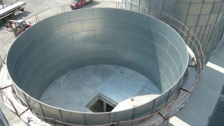 Fond plat d'une hauteur de 3 métres d'un silo de 1000m3