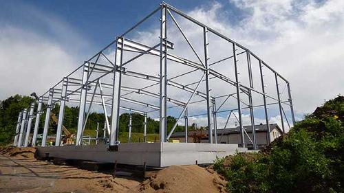 Steel construction of hall