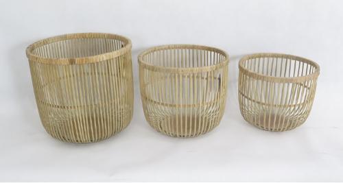 Round Bamboon Plywood Woven Storage Basket