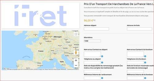 Commande de transport directement en ligne