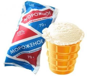 Ice cream in a waffle cup/Пломбир в вафельном стаканчике