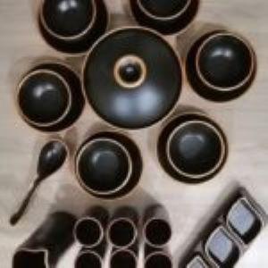 Service à table 23 pièces noir moderne