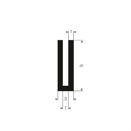Vollgummi U-Profil 1mm / BxH=3x9mm
