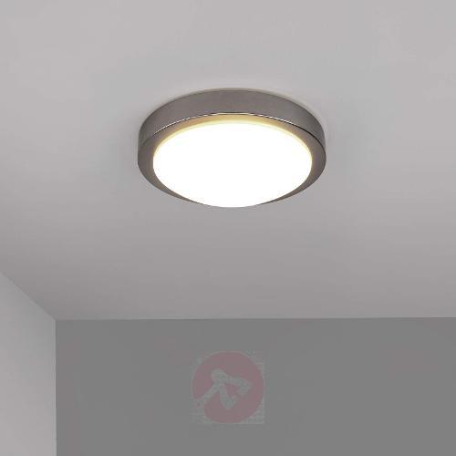 Aras LED bathroom ceiling lamp, matt nickel, 10W