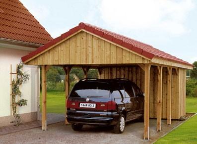 Abri voiture en bois avec atelier