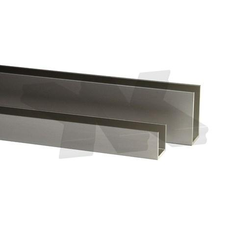 Glass edge protection profile 10x26x10x2mm, stainless steel effect