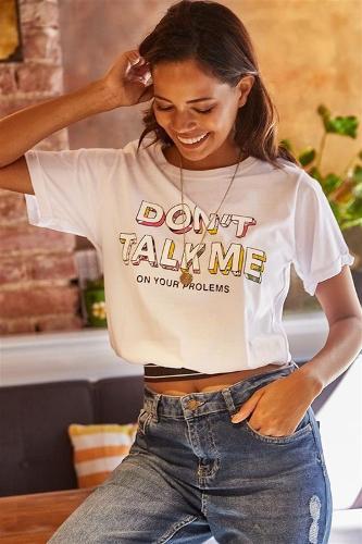 Women's Short White Printed T-shirt