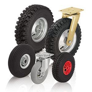 Ruote e ruote con supporto con pneumatici