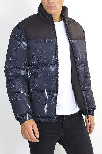 LIGHTNING BOLT PRINT PADDED PUFFER JACKET