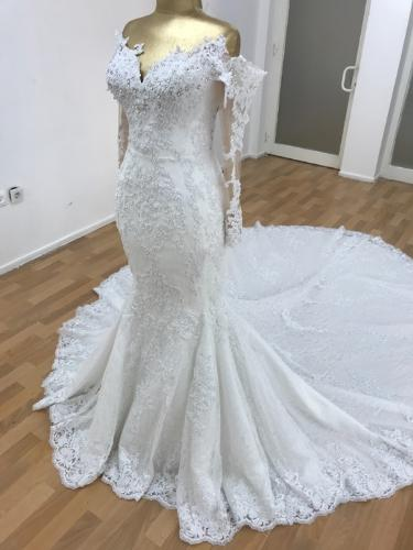 Robe de mariée sirène avec un sur jupe amovible