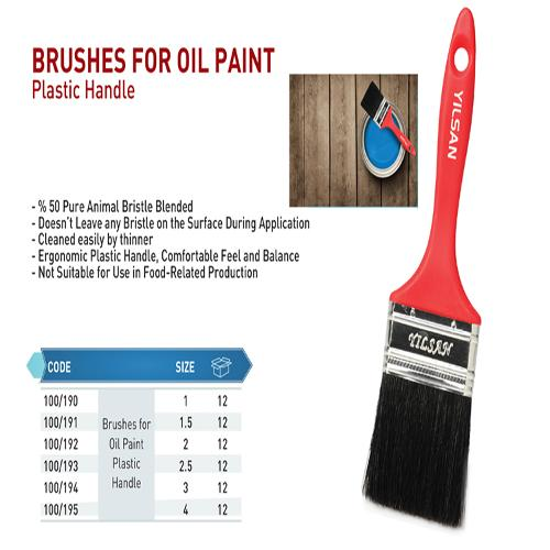 Brushes for oil paint plastic handle