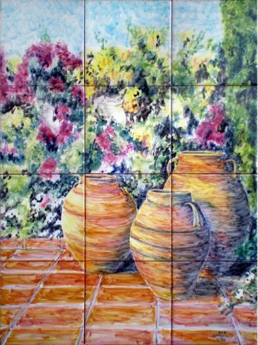 Mural de azulejos Orzas decorativas con flores