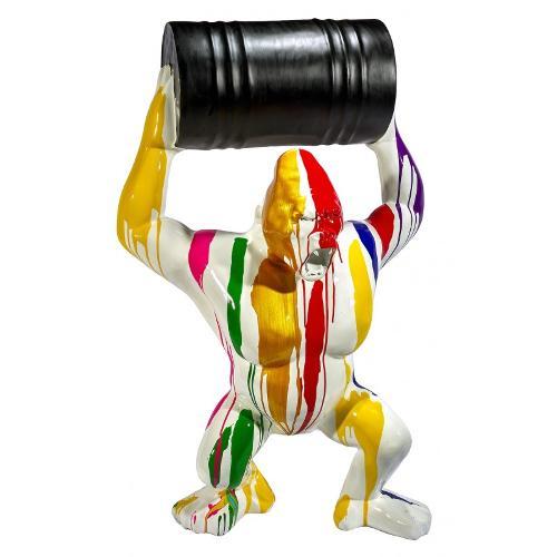 Statue sculpture GORILLE TRASH en résine H140 cm