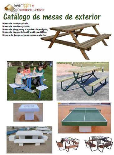 Mesas para exterior de madera,tubo y hormigón
