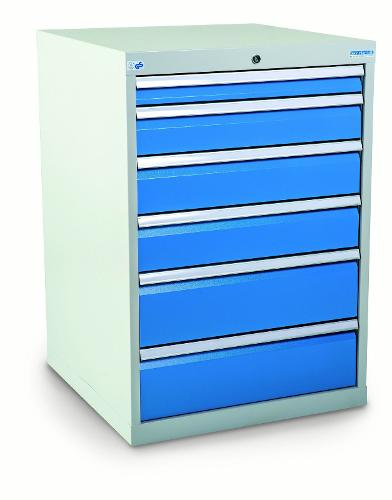 Drawer cabinet with 6 drawers, different front heights