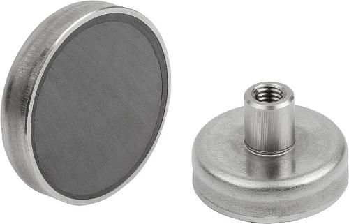 Shallow Pot Magnets With Internal Thread Hard Ferrite With...