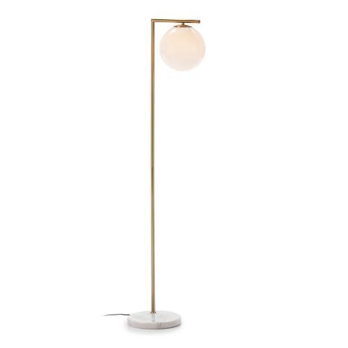 Stehlampe 32x28x163 Glas Weiss/marmor Weiss/metall Golden - Stehlamp