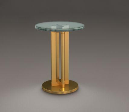 Tavolino in vetro e bronzo