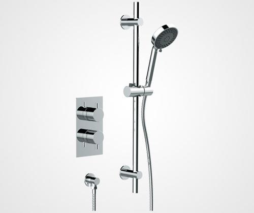 Two handle inline shower valve