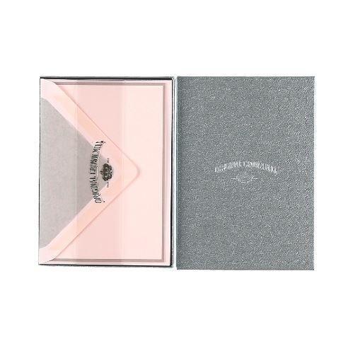 crown mill | 25 cartes et enveloppes | rose avec bordure et doublure gris | a6