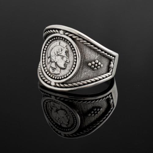 Goddess Athena Coin Ring, Handmade Ring, Sterling Silver Rin