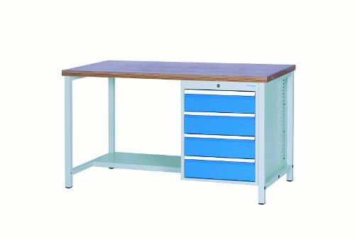 Workbench 1500 with 4 drawers front height 150