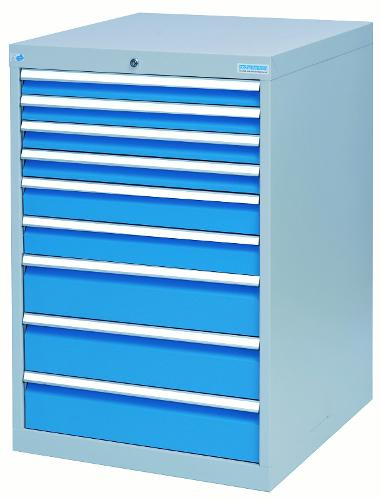 Drawer cabinet with 9 drawers, different front heights
