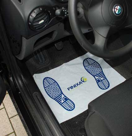 Paper footmats on plastic film