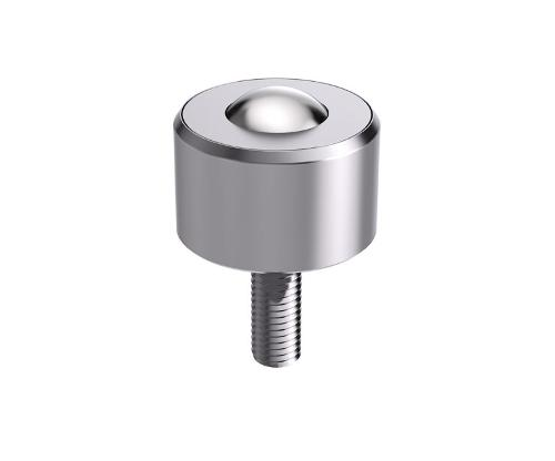 Solid ball caster without collar, with threaded pin