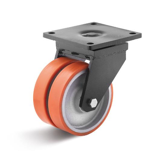 Polyurethane double castors for heavy loads up to 4,000 kg